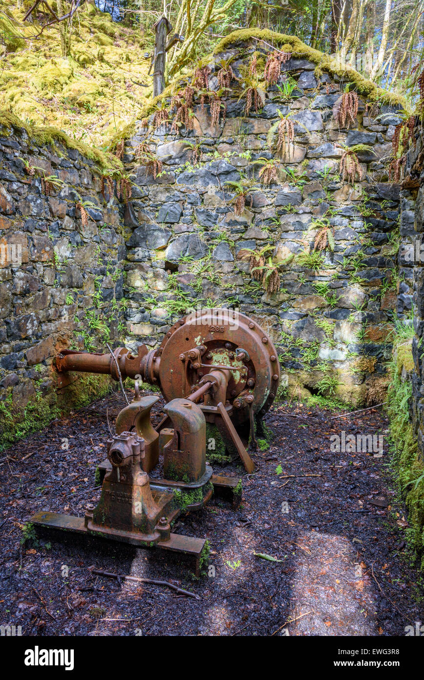 Remains of old hydro electric power turbine, Aros Park, near Tobermory, Isle of Mull, Hebrides, Argyll and Bute, - Stock Image