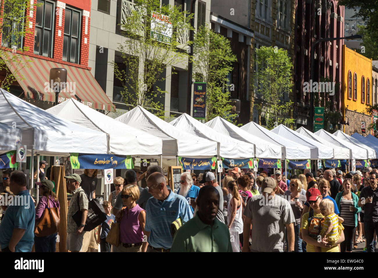 Shoppers crowd the streets of Greenville, SC in search of fresh local foods and local crafts at the TD Saturday - Stock Image