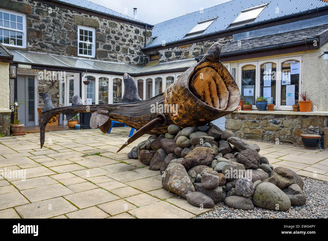 Basking Shark sculture, Art in Nature Sculpture Trail, Calgary Bay, Isle of Mull, Hebrides, Argyll and Bute, Scotland - Stock Image