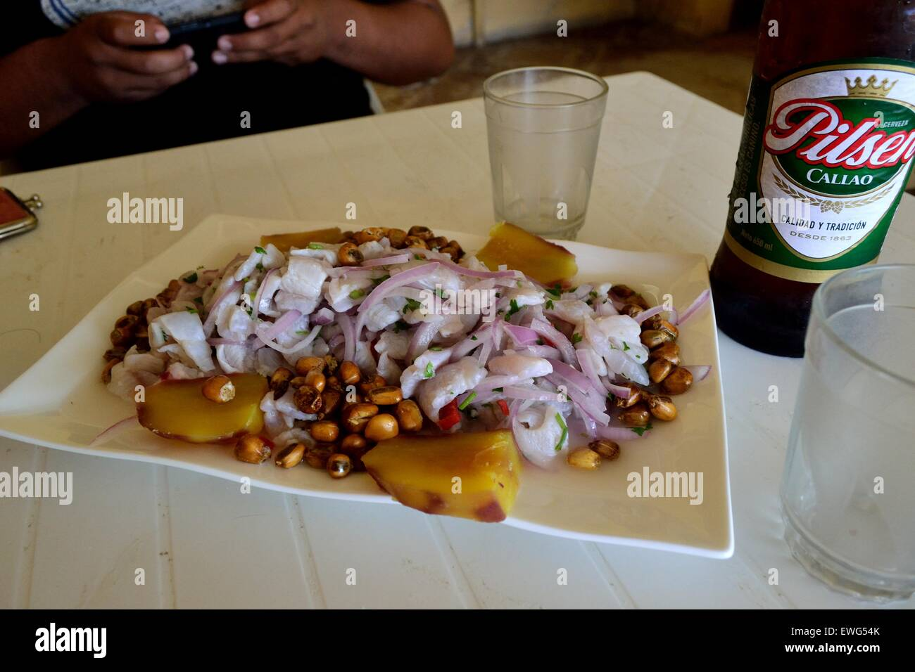Ceviche Restaurant In Puerto Pizarro Department Of Tumbes Peru Stock Photo Alamy