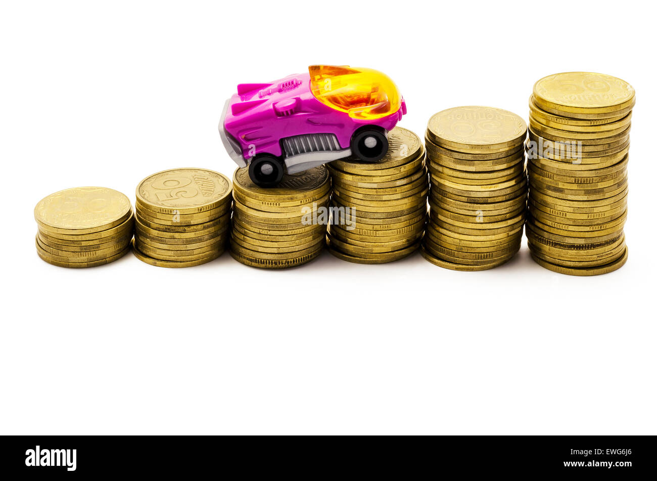 the car goes up after coins on a white background - Stock Image