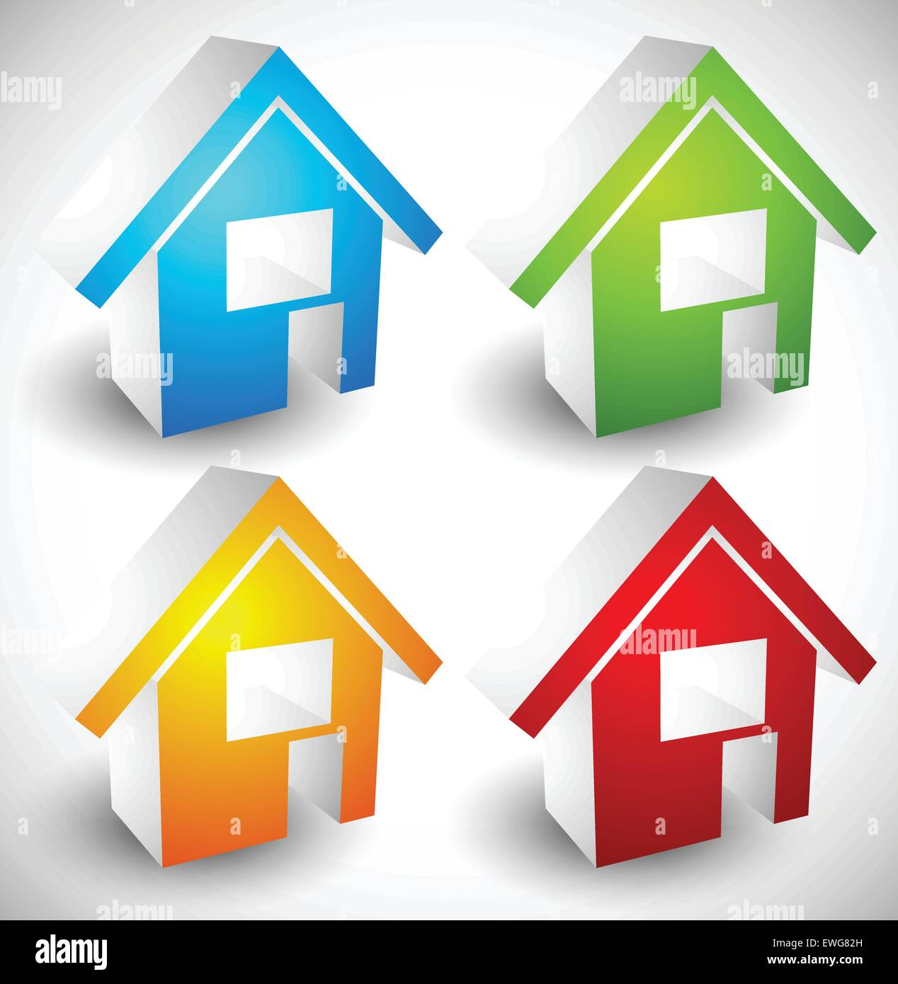 3d House Home Symbols Icons In 4 Colors Illustration For Real