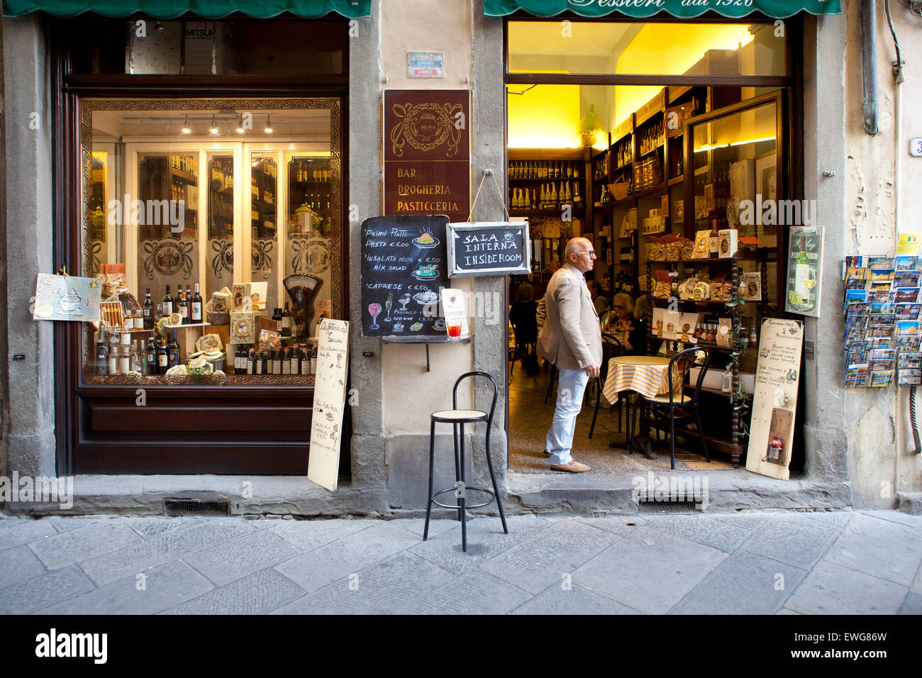 Italian Deli, old town Lucca Italy - Stock Image