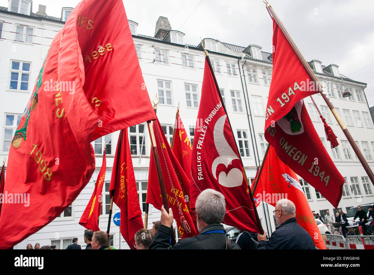 Copenhagen, Denmark, June 15th, 2015: Union flags are flying in front of the Danish Danish Labour Court, which begins - Stock Image
