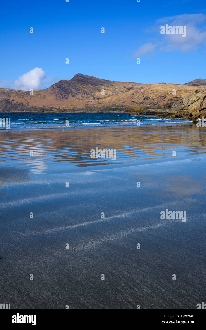 Laggan Sands, beach near Lochbuie, Loch Buie, Isle of Mull, Hebrides, Argyll and Bute, Scotland - Stock Image