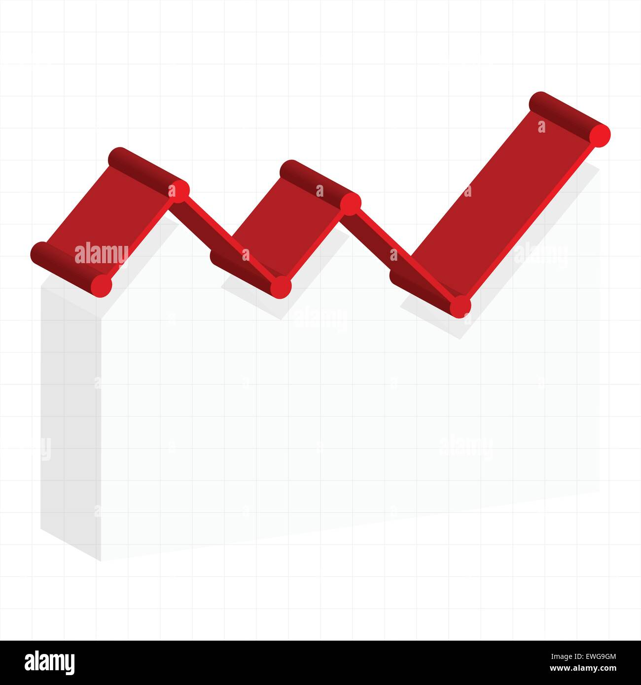 line graph element. graph, chart over gridded background. 3d stock