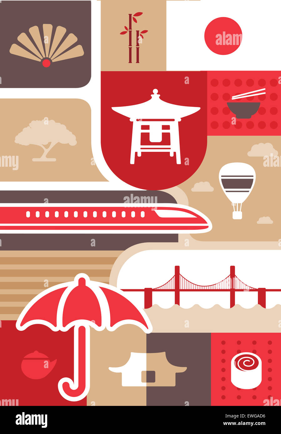 Illustrative Collage Japanese Culture Symbols Stock Photo 84567314