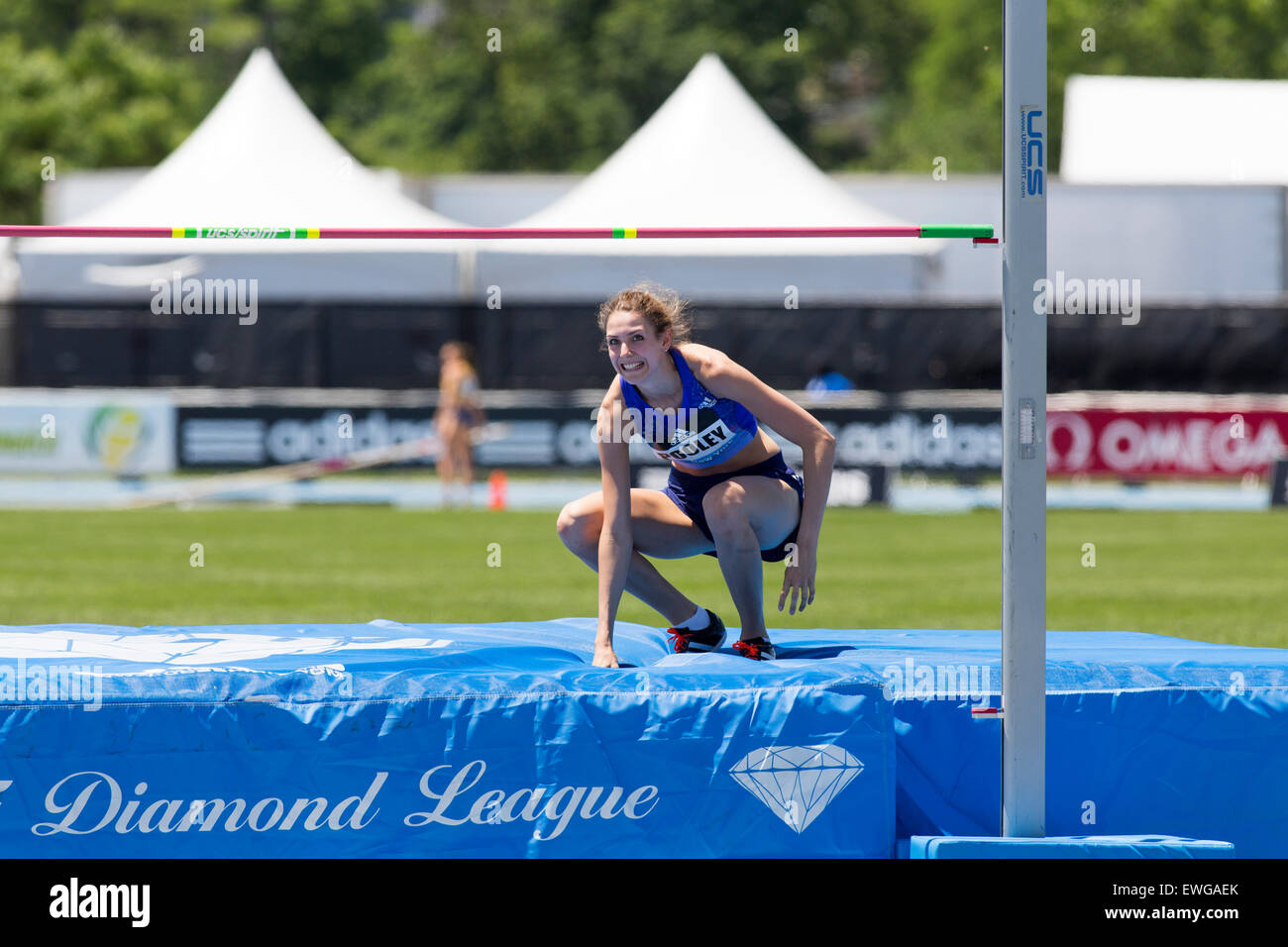 Isobel Pooley (GBR) in the Women's High Jump at the 2015 Adidas NYC Diamond League Grand Prix - Stock Image