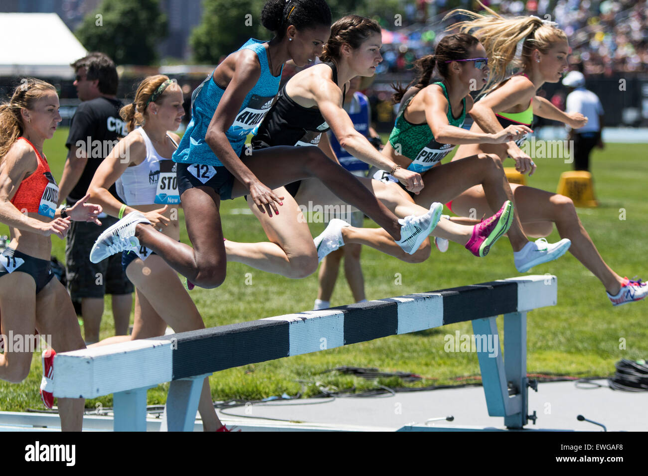 Women's 3000m Steeplechase at the 2015 Adidas NYC Diamond League Grand Prix Stock Photo