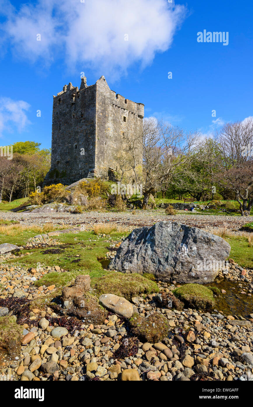 Moy Castle, Lochbuie, Isle of Mull, Hebrides, Argyll and Bute, Scotland - Stock Image