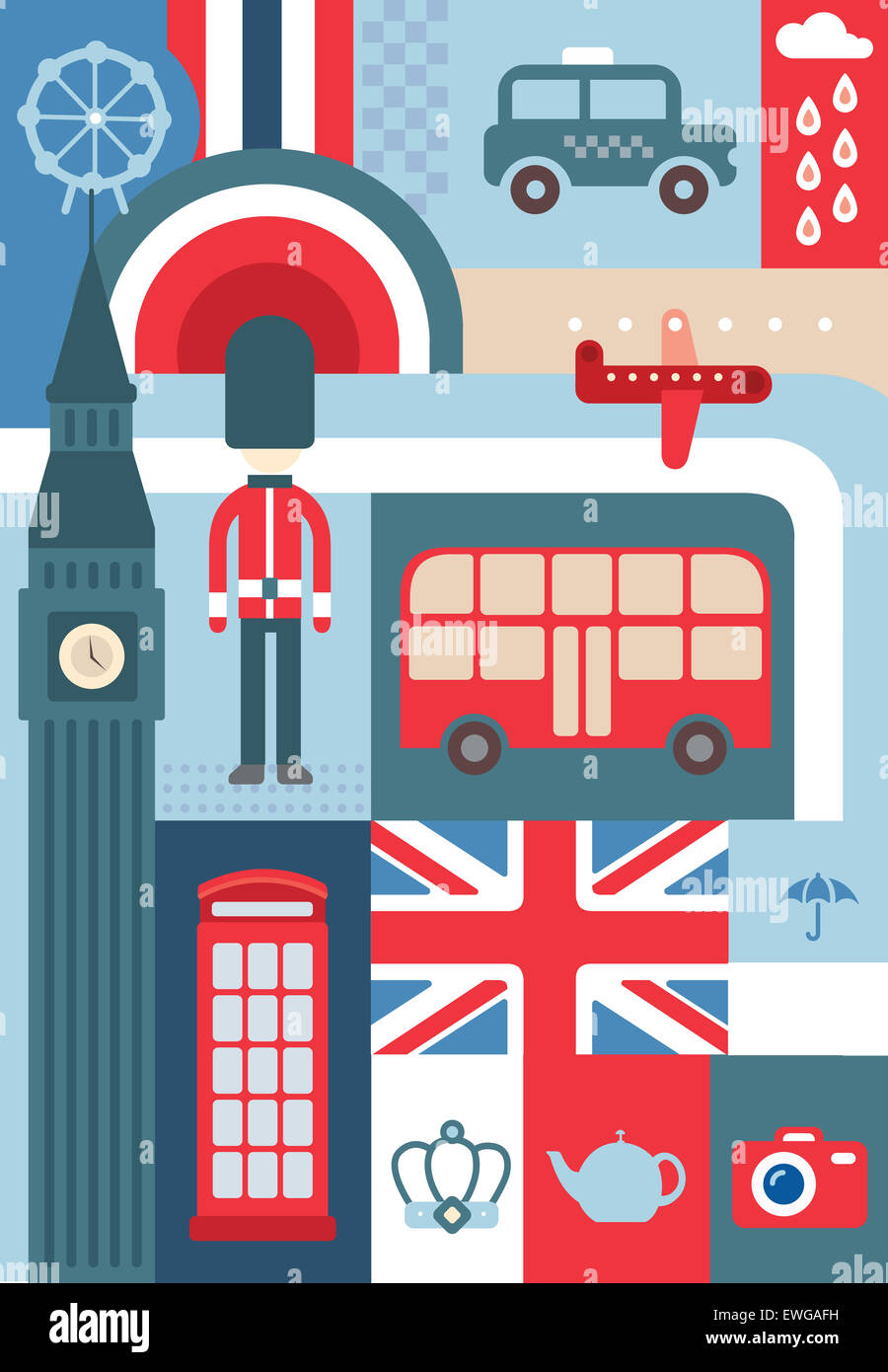 Illustrative collage representing city life in London - Stock Image