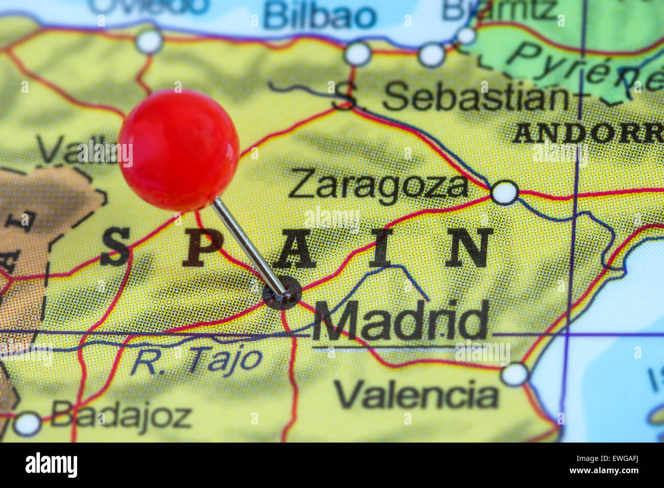 Madrid Map Of Spain.Close Up Of A Red Pushpin On A Map Of Madrid Spain Stock Photo