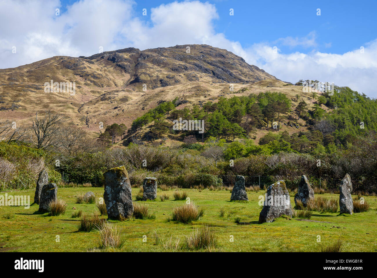 Prehistoric Stone Circle, Lochbuie, Isle of Mull, Hebrides, Argyll and Bute, Scotland - Stock Image