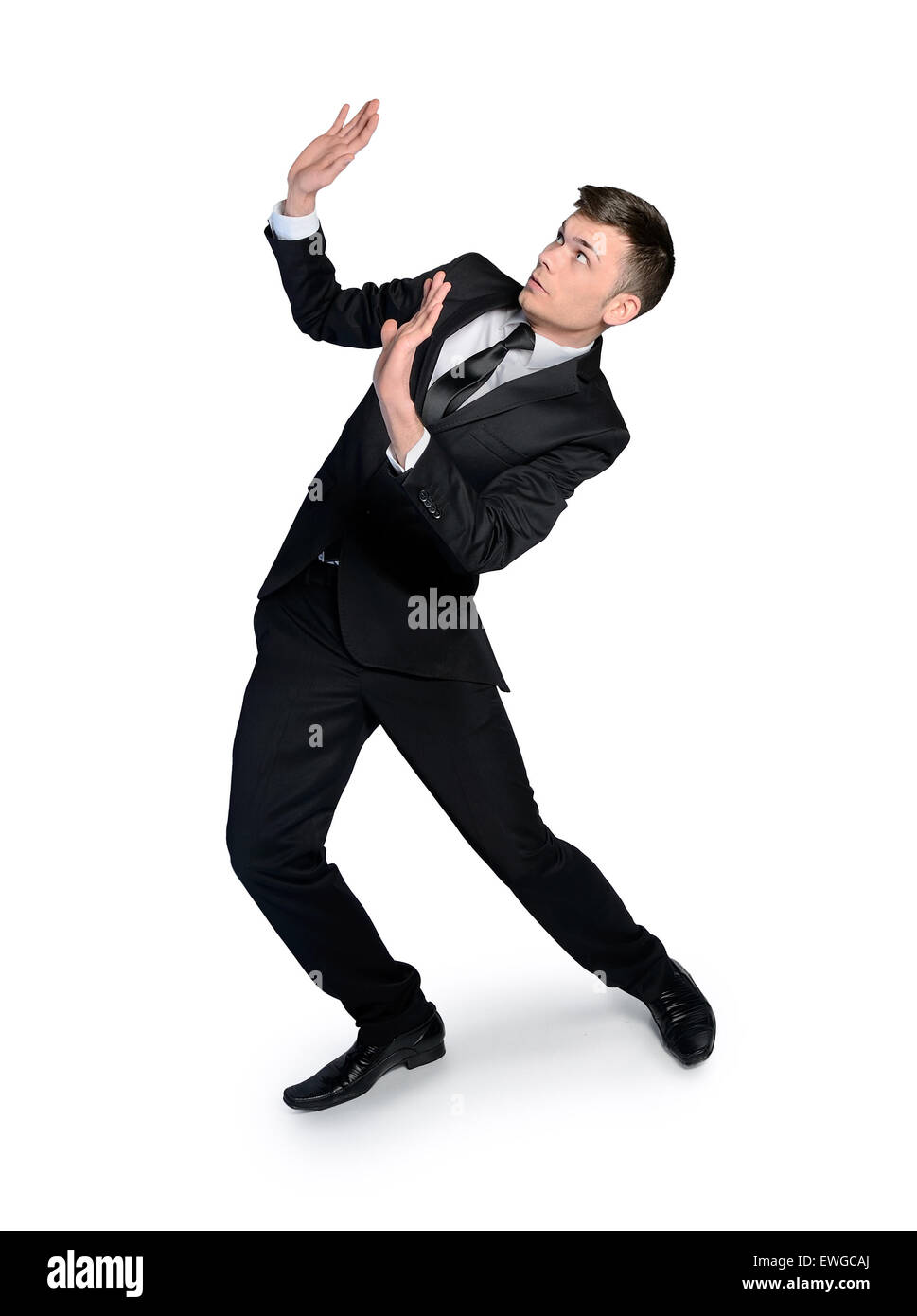 isolated business man with hands up - Stock Image