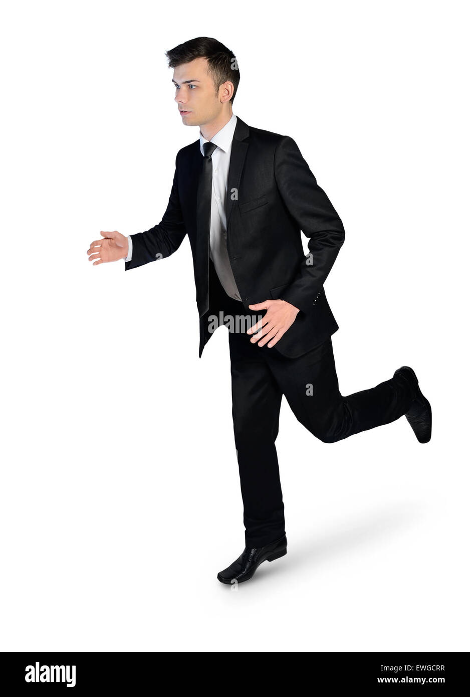 Isolated business man running away Stock Photo