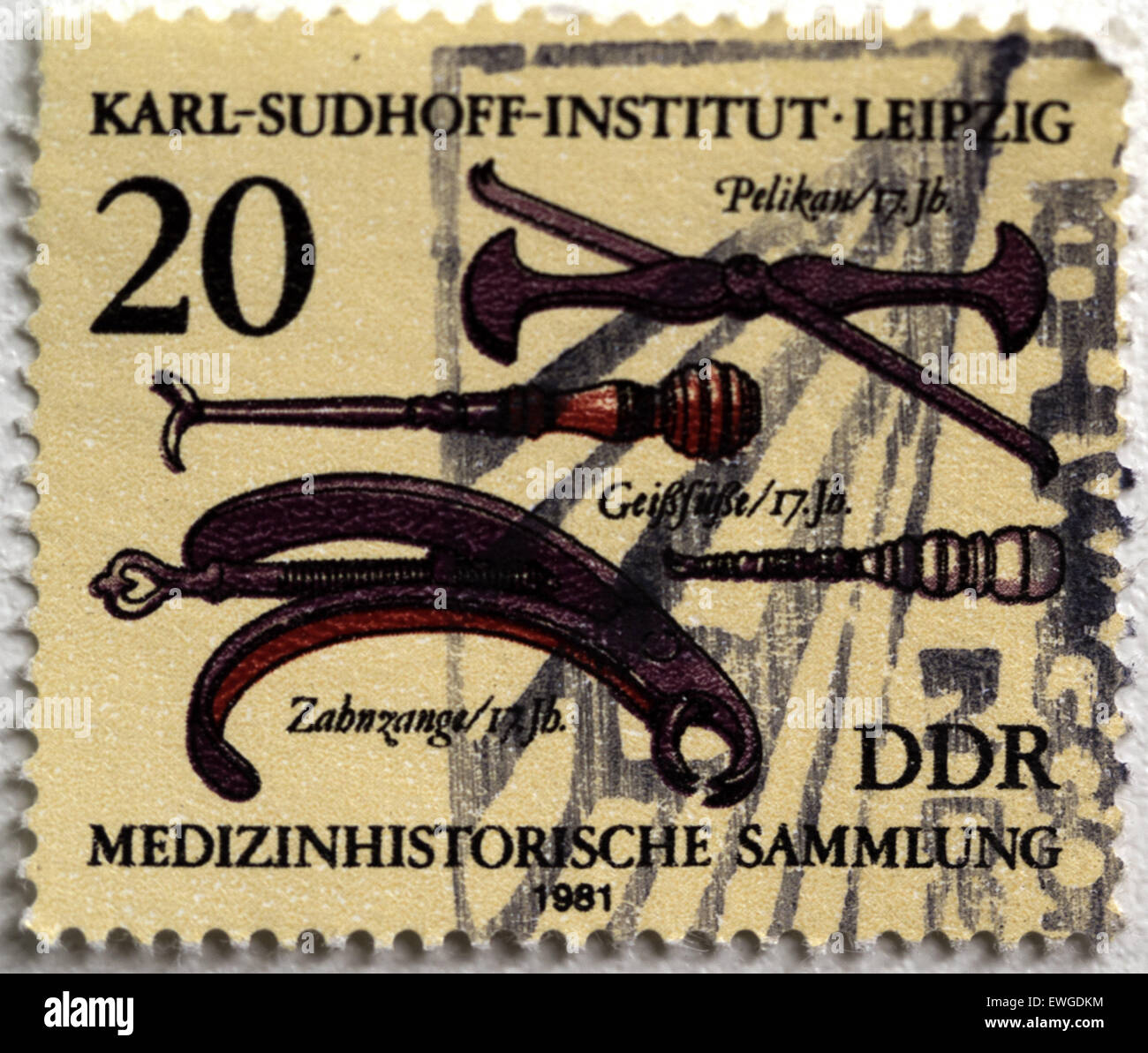 June 20, 2015 - GERMANY- CIRCA 1981: Stamp printed in Germany shows 18th cent, History medical instruments, Leipzig, Karl Sudhoff Institute © Igor Golovniov/ZUMA Wire/Alamy Live News Stock Photo