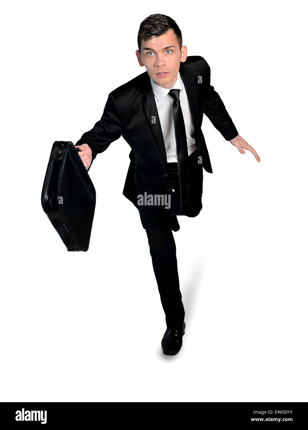 Isolated business man running away - Stock Image