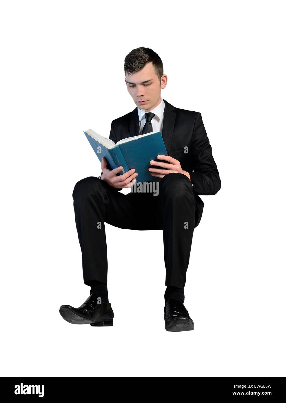 Isolated Business Man Reading Book Stock Photo: 84570273