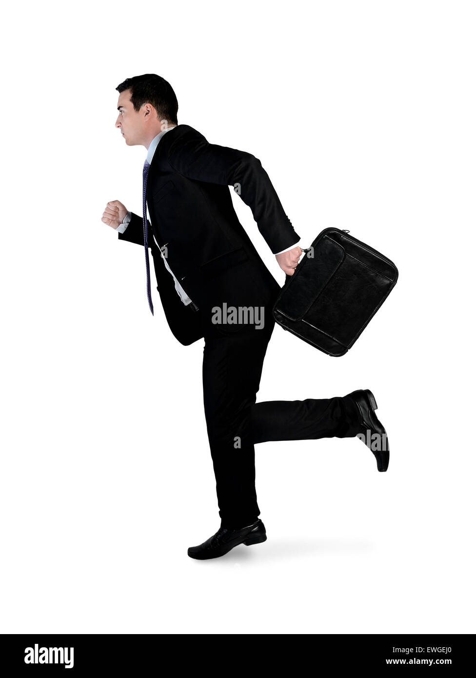 Isolated business man running side Stock Photo