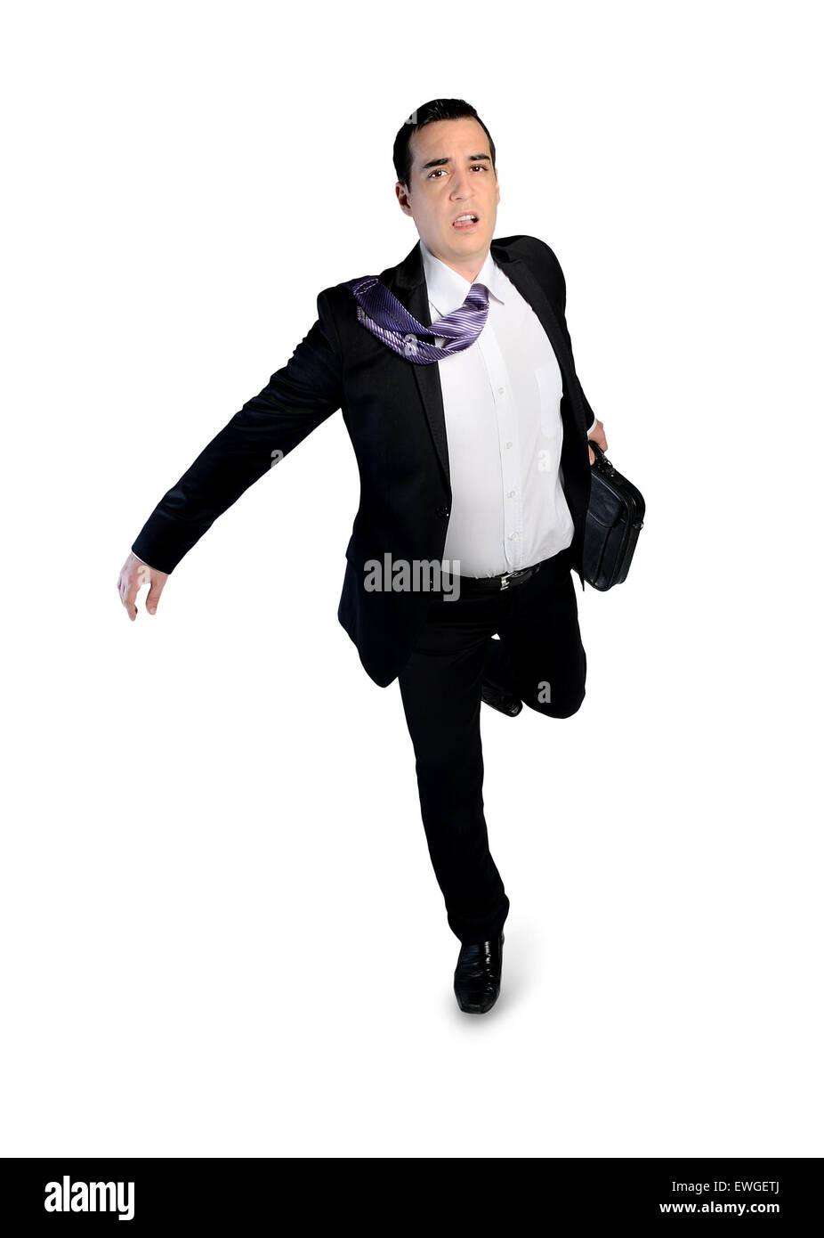 Isolated business man running away Stock Photo