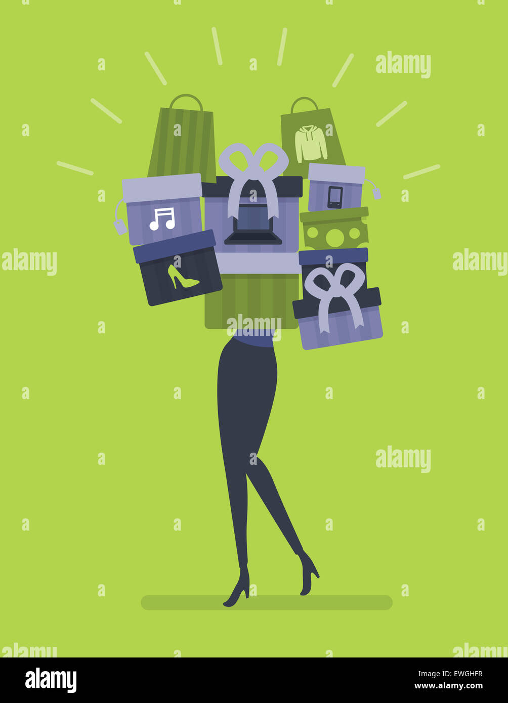 Illustration image of woman excess shopping - Stock Image