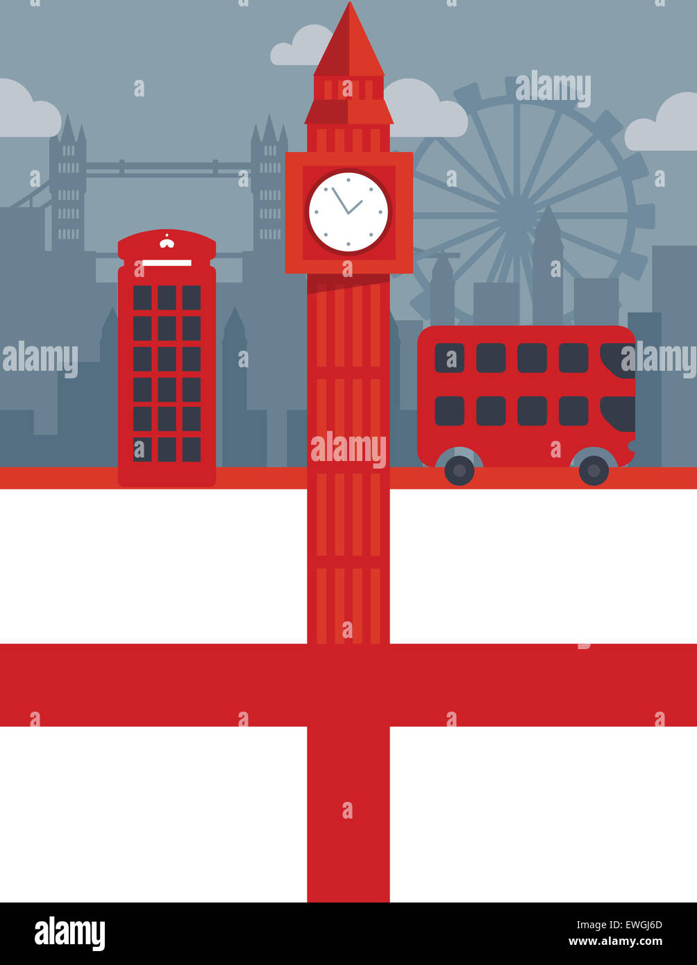 Illustrative collage representing famous historical landmarks of London, England - Stock Image