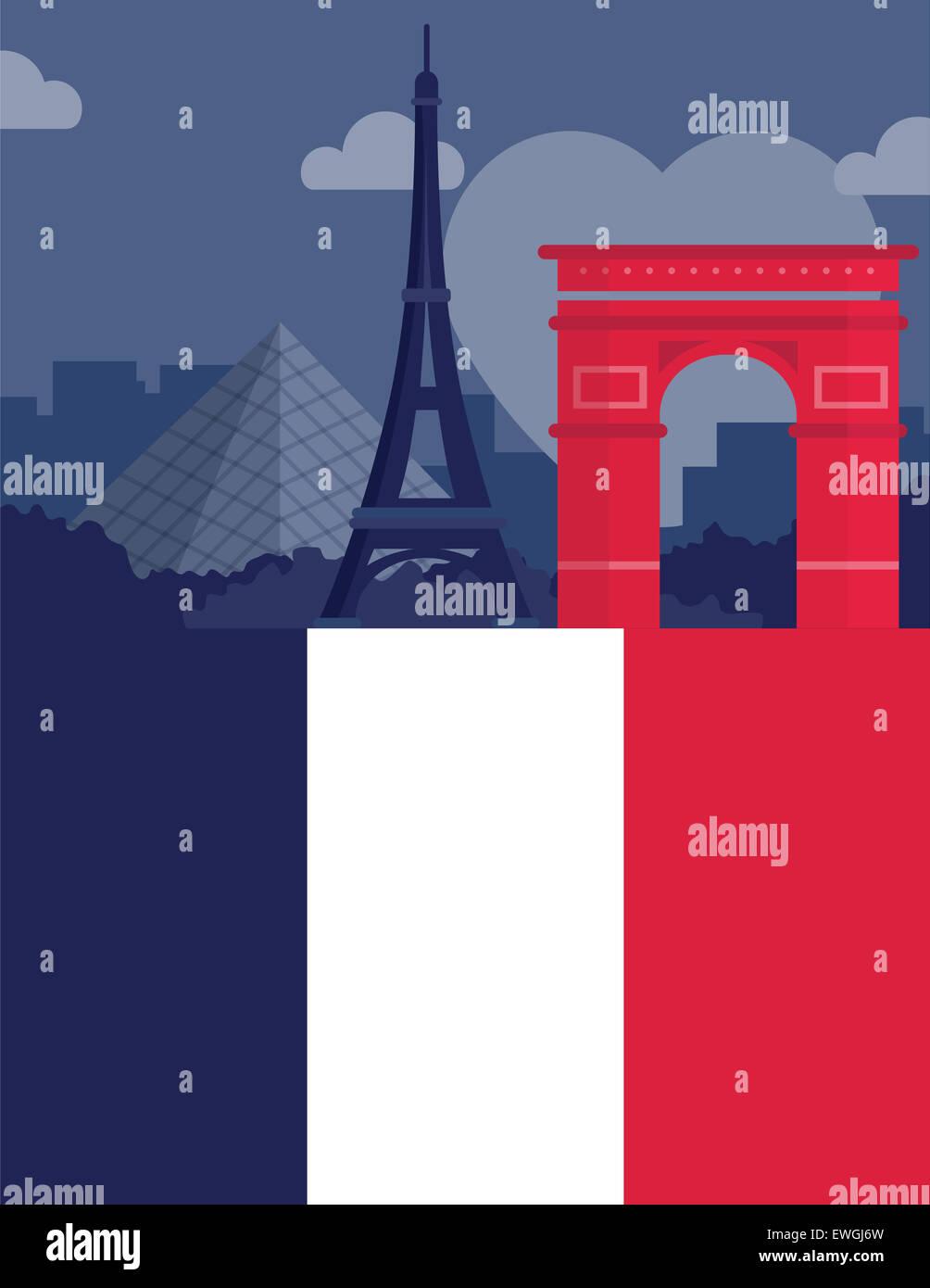 Illustrative image representing famous landmarks of Paris, France Stock Photo