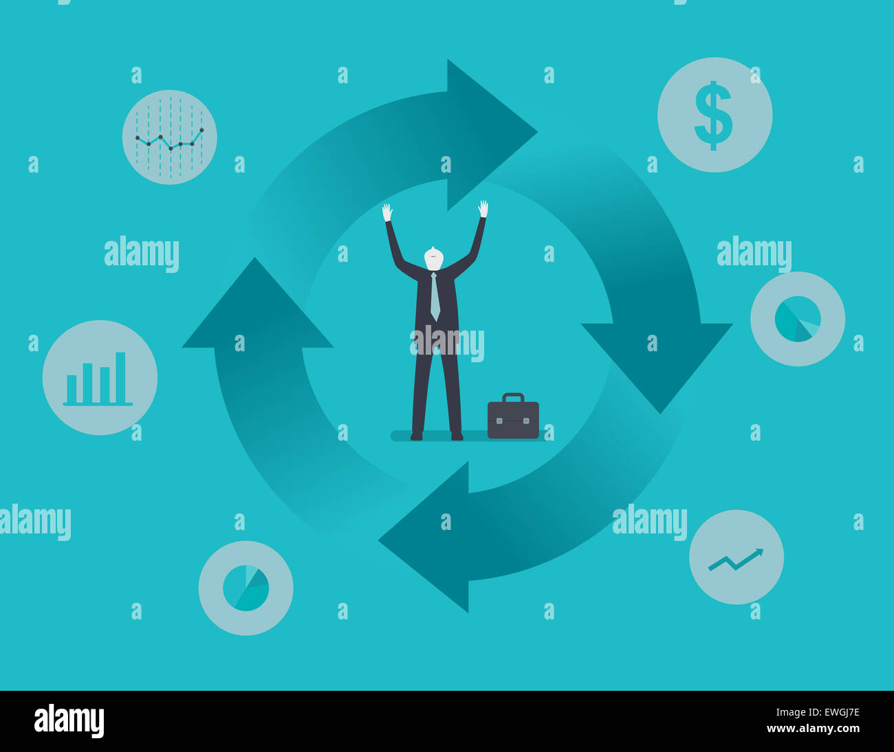 Business cycle trend - Stock Image