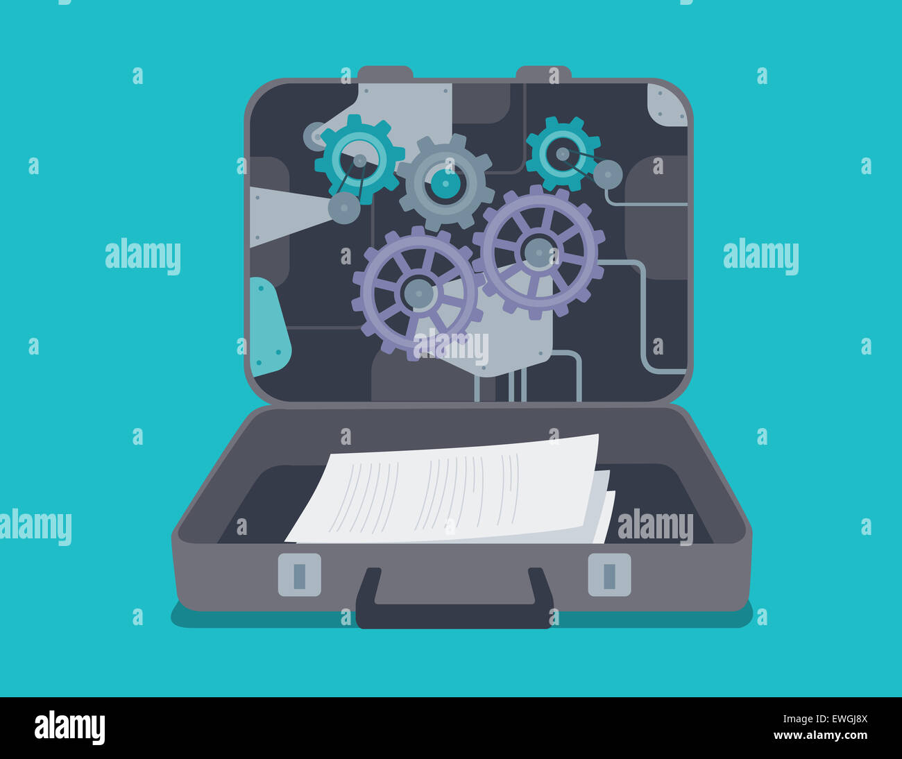 Confidential documents in briefcase - Stock Image