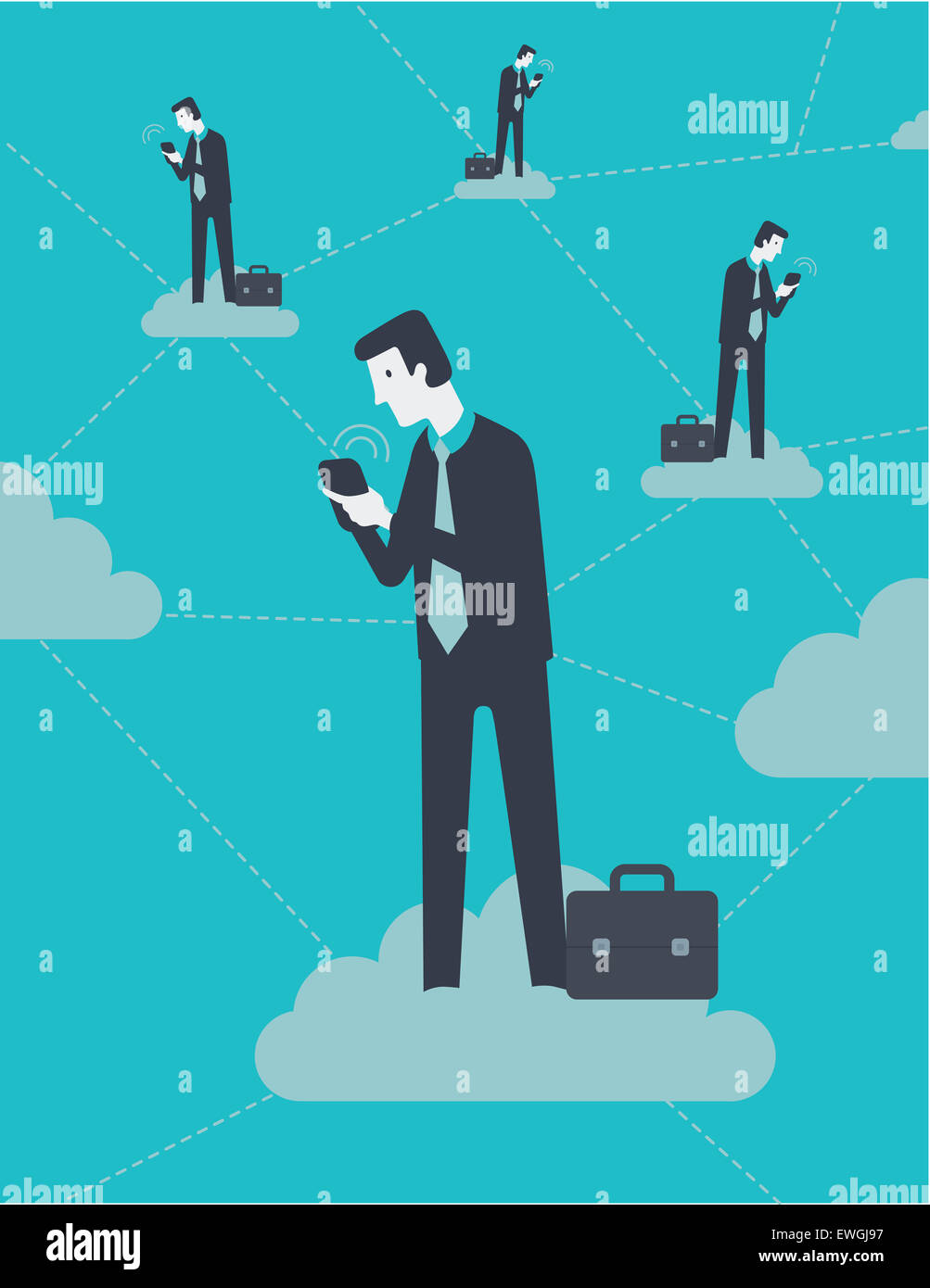 Businessmen working on mobile phone connected together through cloud computing - Stock Image