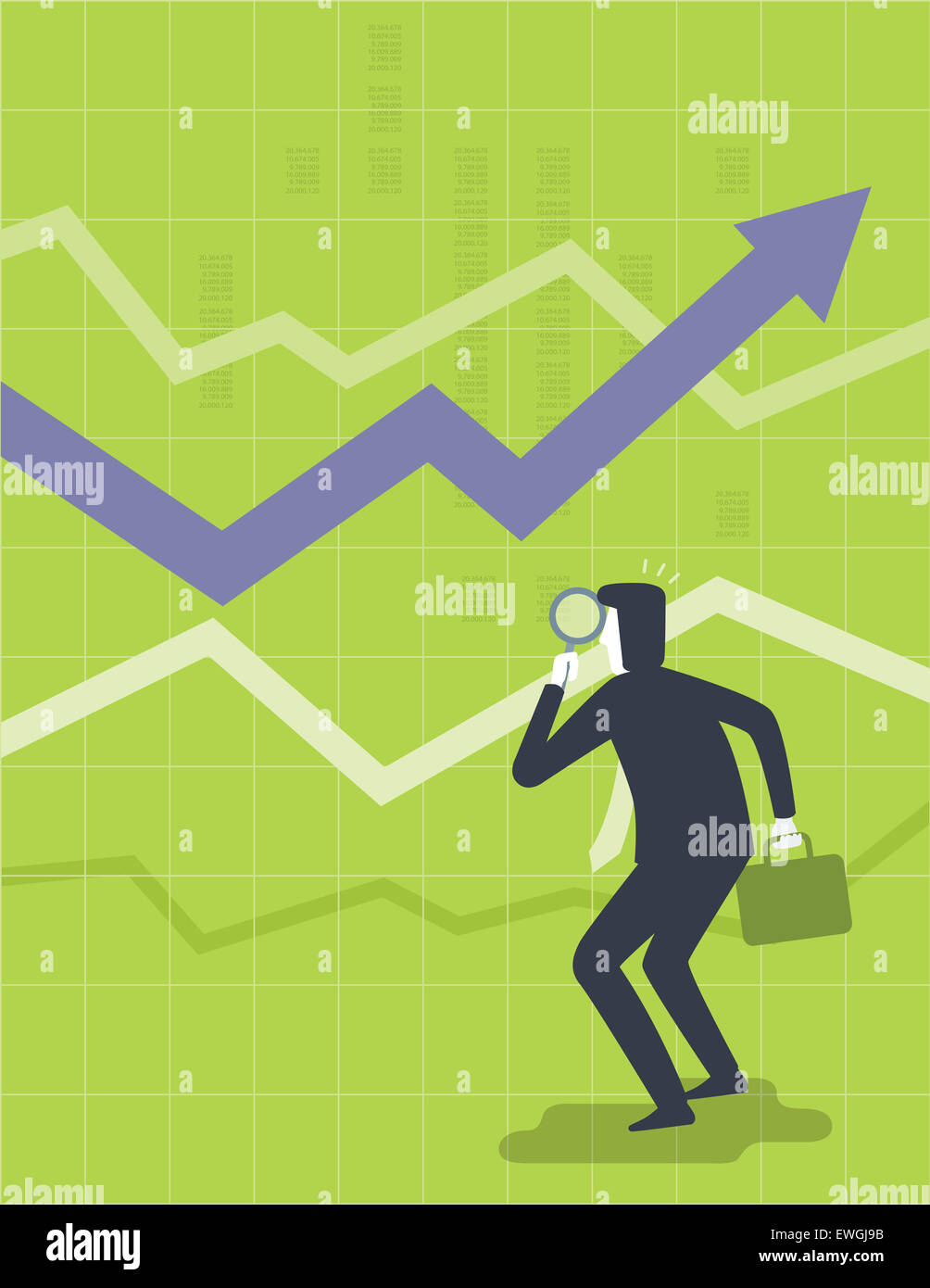 Businessman with magnifying glass analyzing stock market growth chart - Stock Image