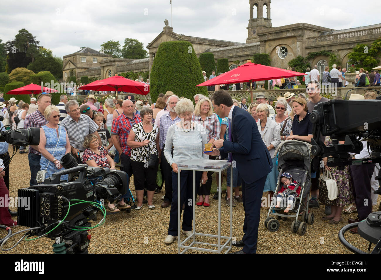 John Benjamin filming the Antiques Roadshow at Bowood House Calne Wiltshire June 2015 - Stock Image