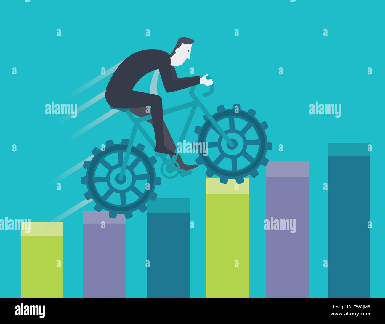 Competitive businessman cycling on top of bar chart training for success - Stock Image