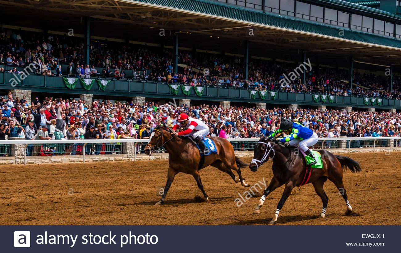 Horse racing on the dirt track  at Keeneland Racecourse, Lexington, Kentucky USA. - Stock Image