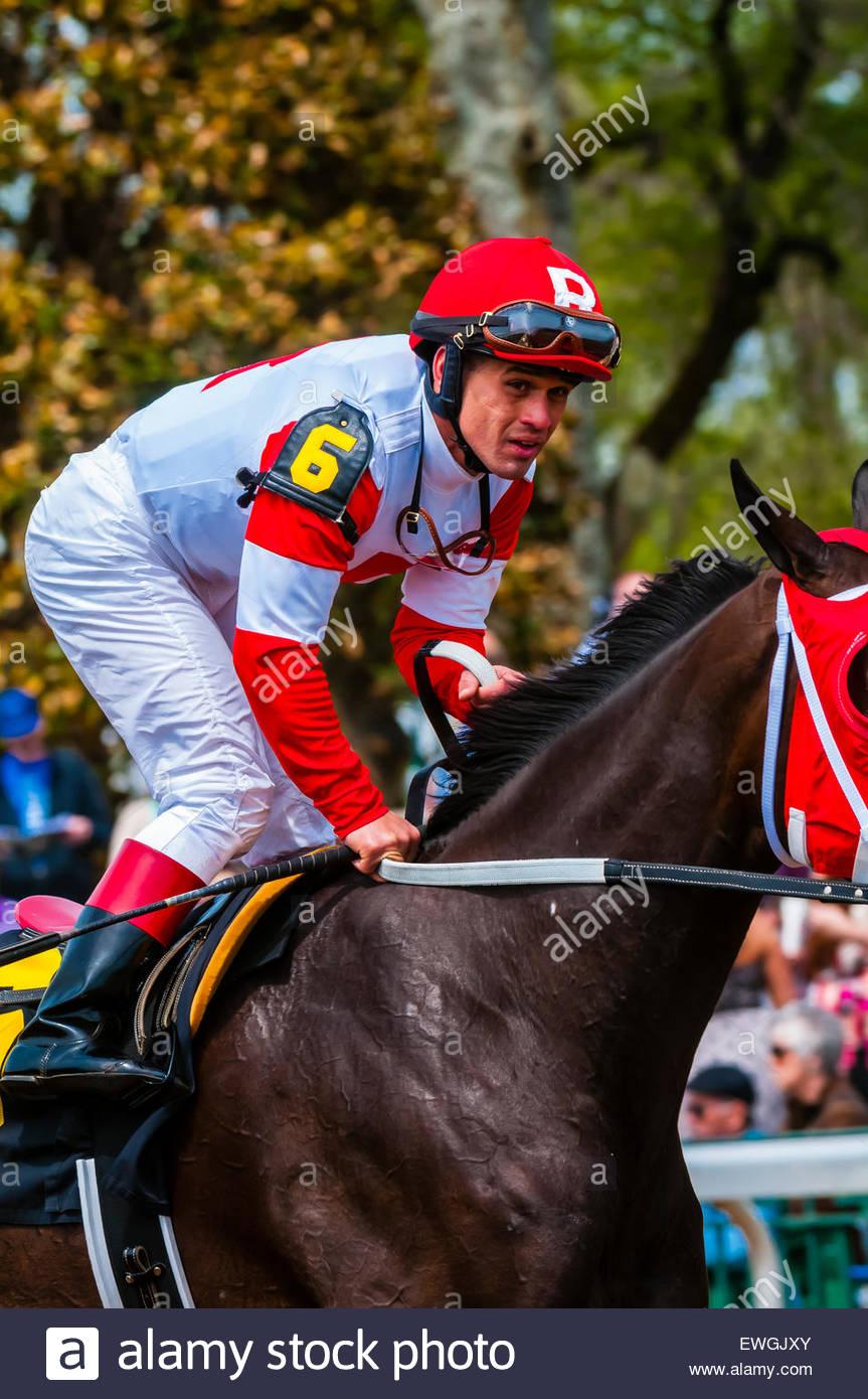 Jockey Javier Castellano riding Second Base at Keeneland Racecourse, Lexington, Kentucky USA.. He is a jockey in - Stock Image