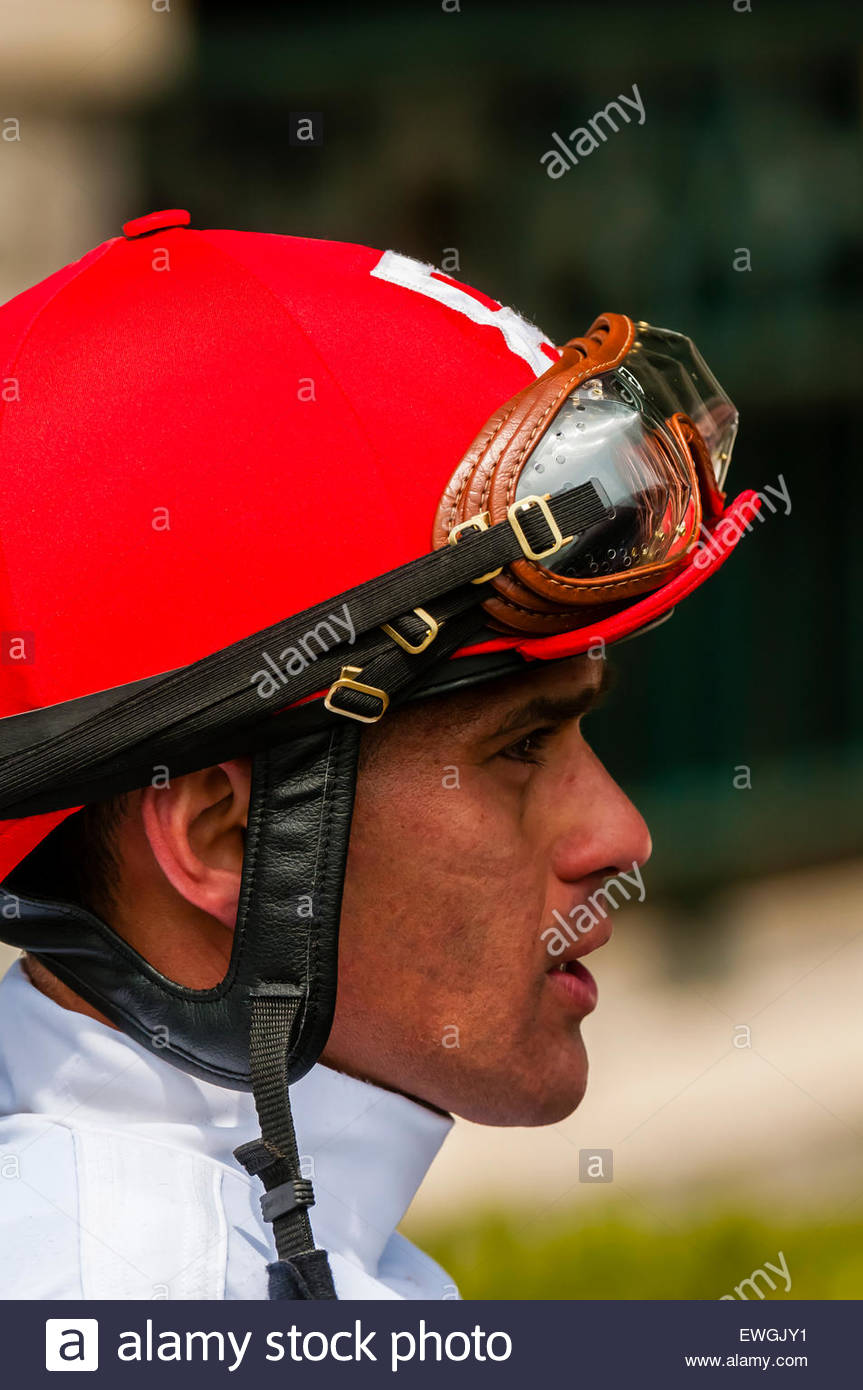 Jockey Javier Castellano at Keeneland Racecourse, Lexington, Kentucky USA.. He is a jockey in American Thoroughbred - Stock Image