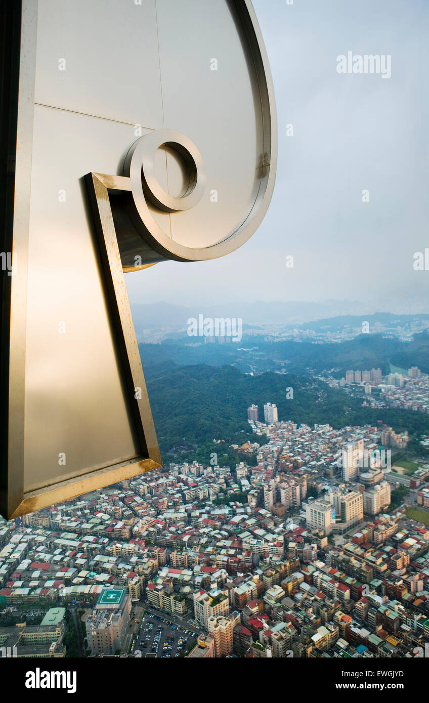 View of Taipei from the 88th floor of Taipei 101. Taipei 101 is a 101-floor landmark skyscraper located in Taipei. - Stock Image