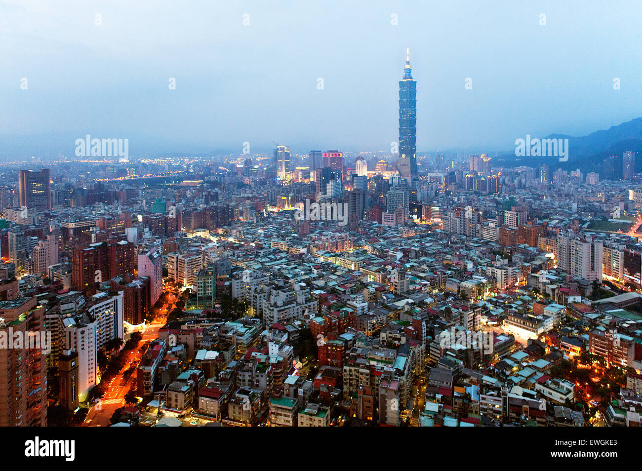 Taipei 101 building at dusk. Taiwan Stock Photo
