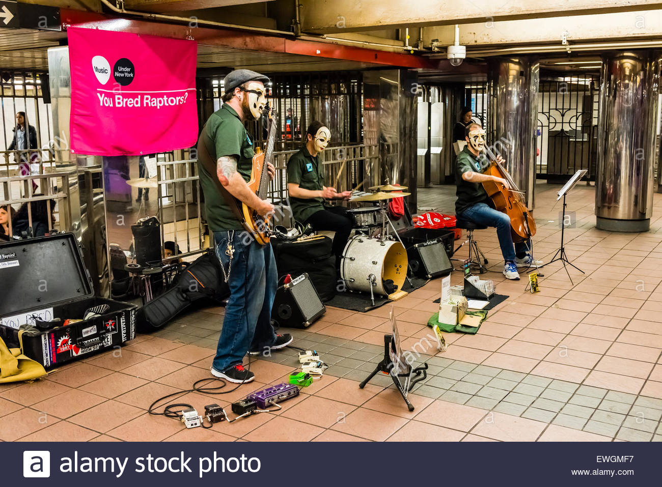 'You Bred Raptors' performing in the subway, New York, New York USA. - Stock Image