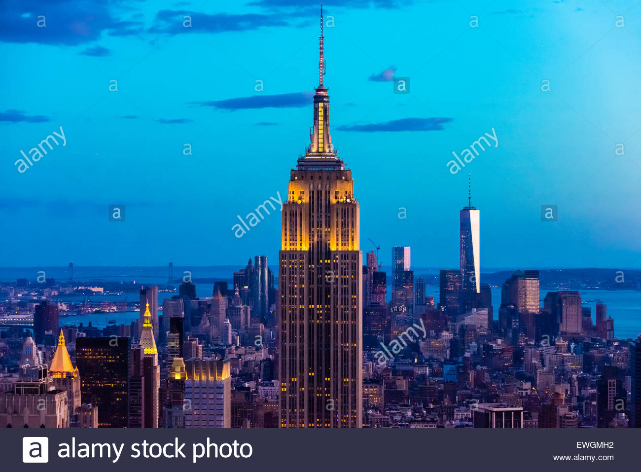 Empire State Building with One World Trade Center in background on right, New York, New York USA. - Stock Image