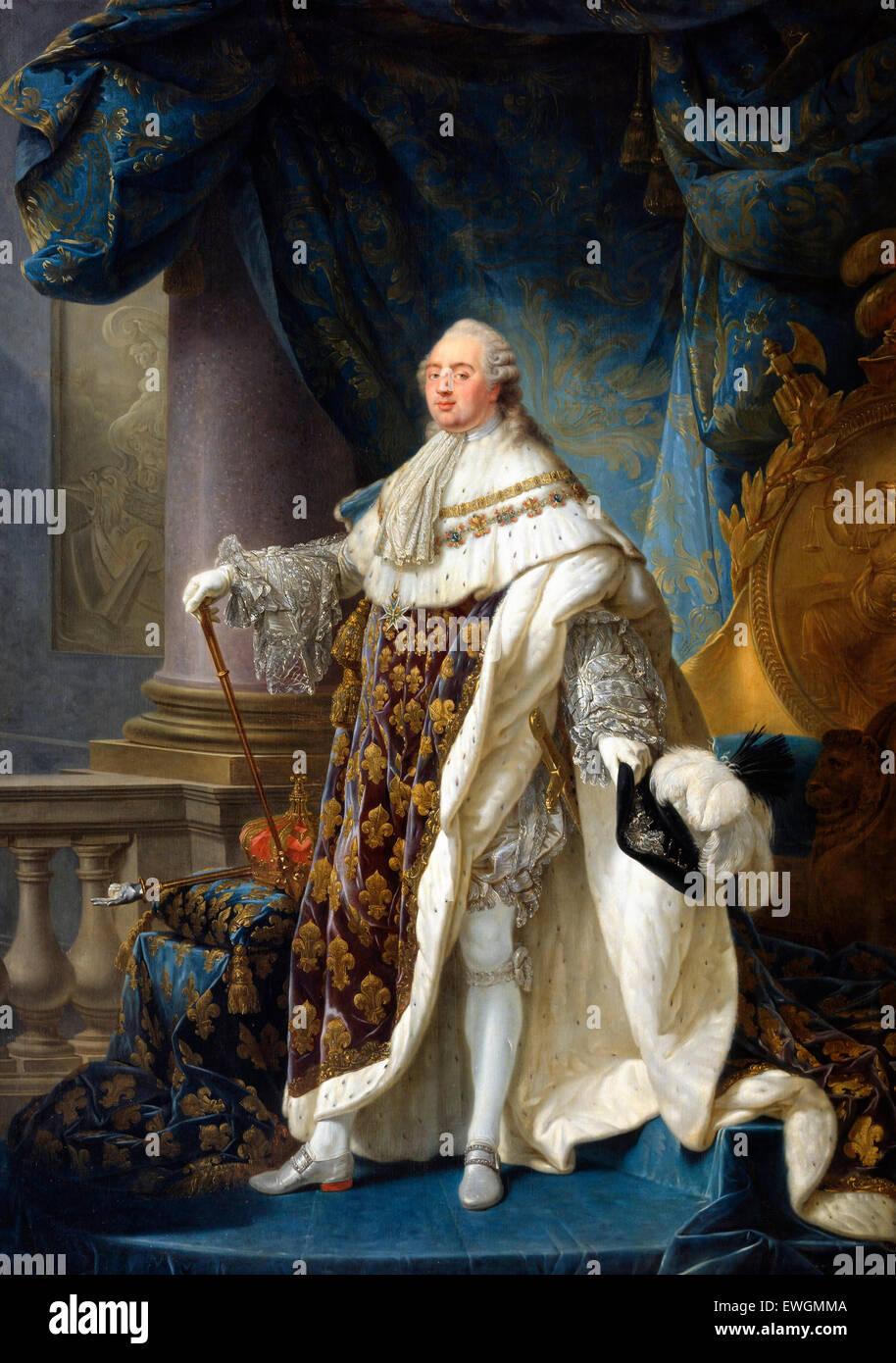 French: Louis XVI, roi de France et de Navarre (1754-1793), revêtu du grand costume royal en 1779 Louis XVI, - Stock Image