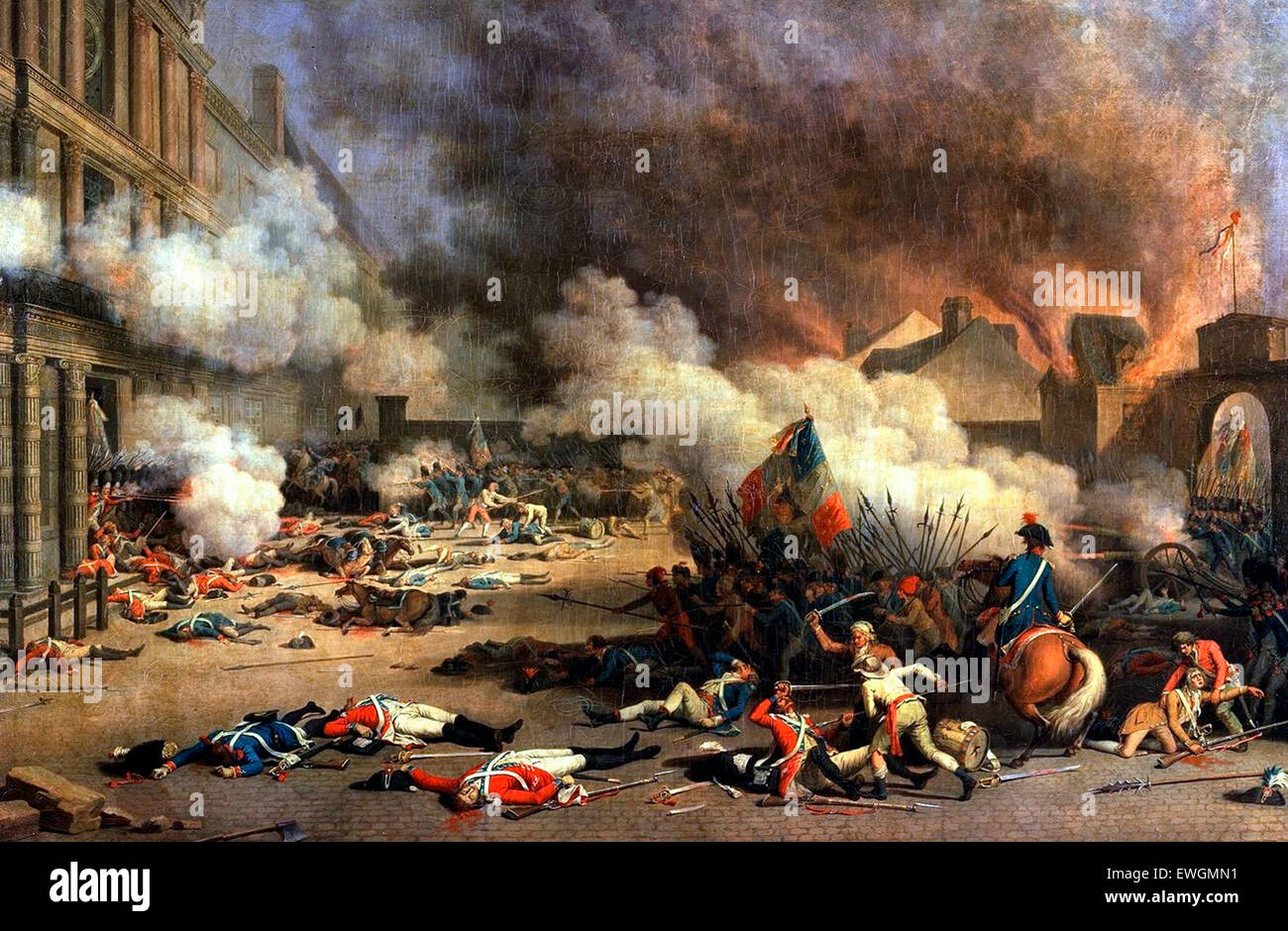 Depiction of the storming of the Tuileries Palace on 10 August 1792   Jean Duplessis-Bertaux - Stock Image