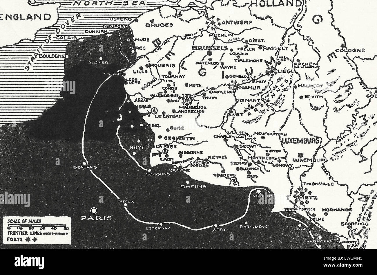 Three Fronts in France - The Solid Black shows territory occupied by the Allies at the close of the Hindenburg retreat Stock Photo