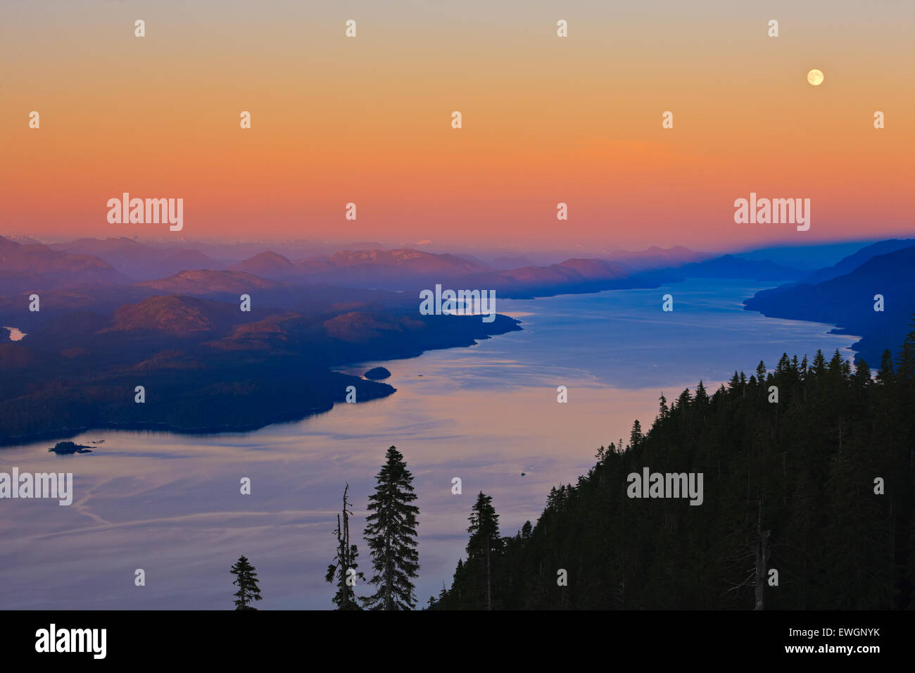 Aerial view over Johnstone Strait and Robson Bight, looking southeast after a beautiful soft sunset on a full moon - Stock Image