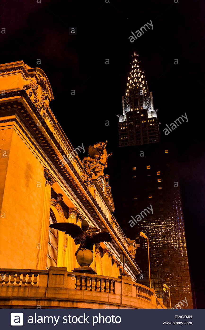 Grand Central Station and Chrysler Building, New York, New York USA. - Stock Image