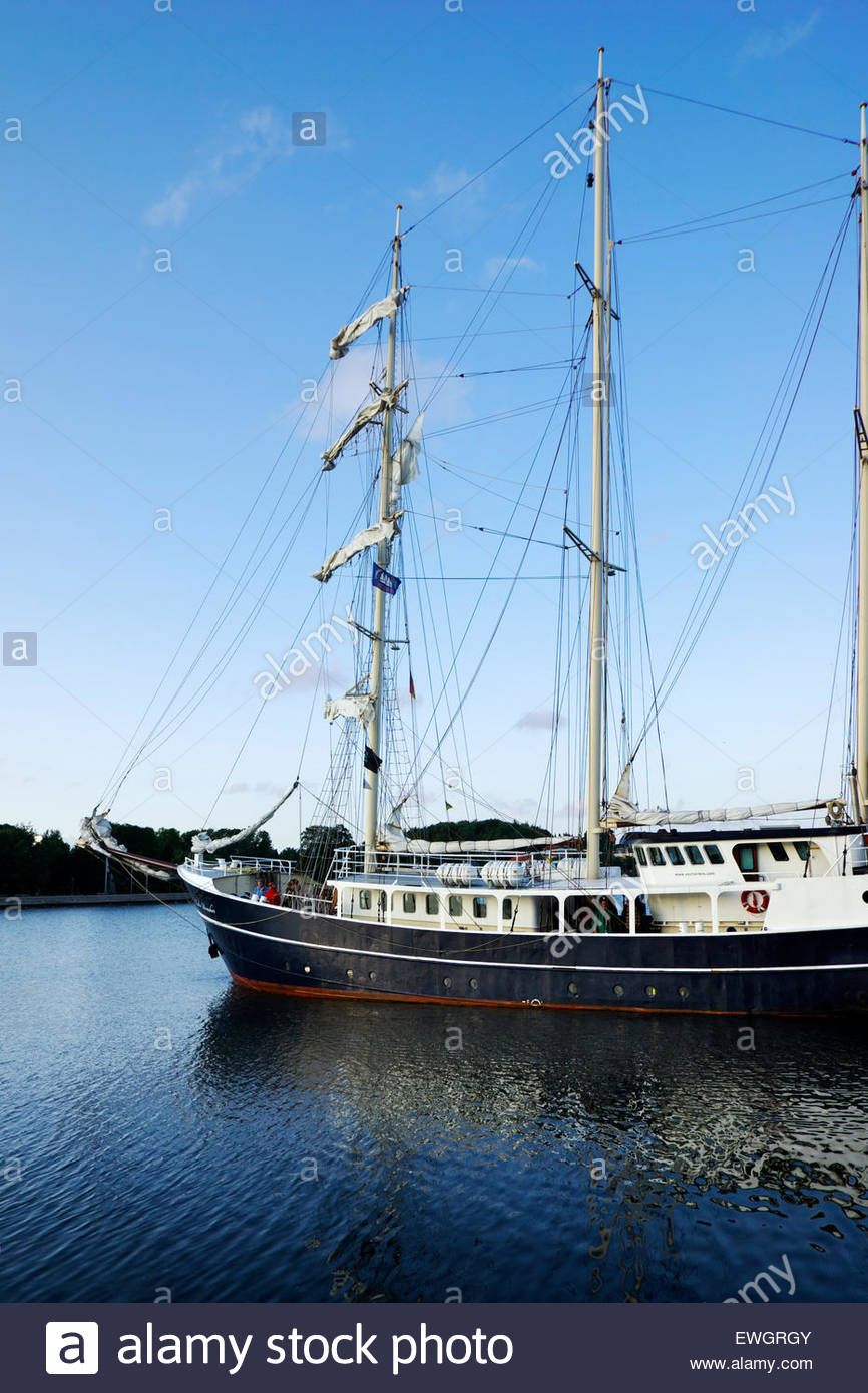Tall ship in the harbor of Eckernförde, a city located at the eastern end of the Danevirke rampart. - Stock Image