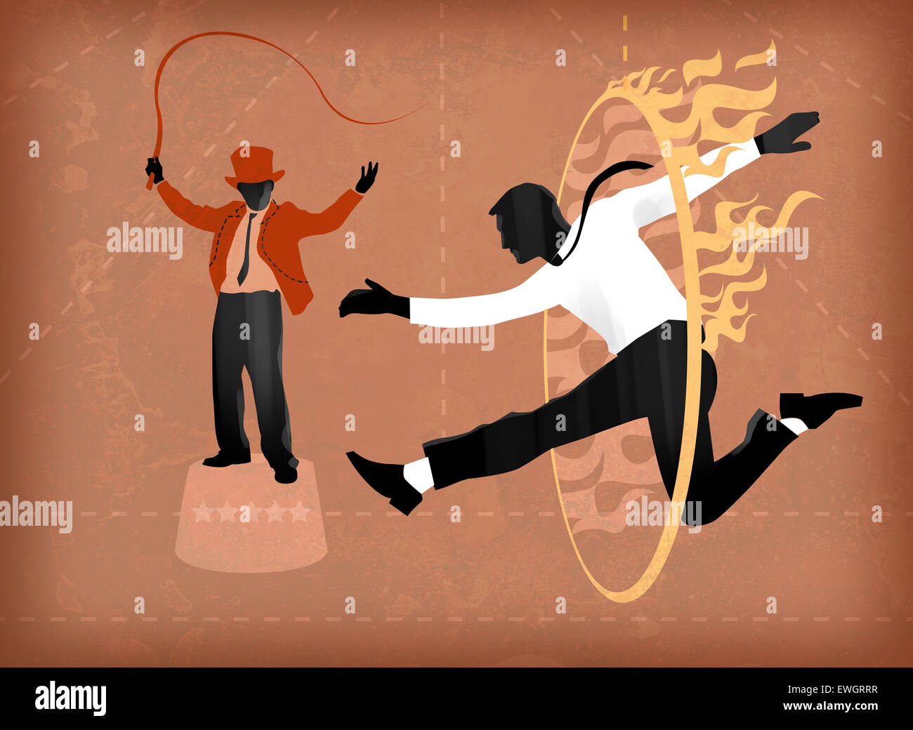Ringmaster taming man passing through fire ring - Stock Image