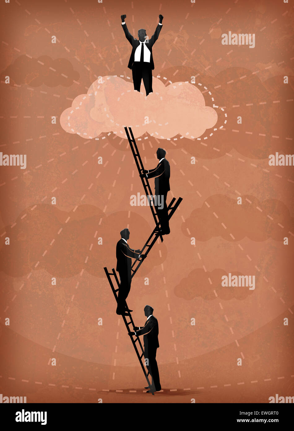 Illustration image of business people climbing ladders - Stock Image