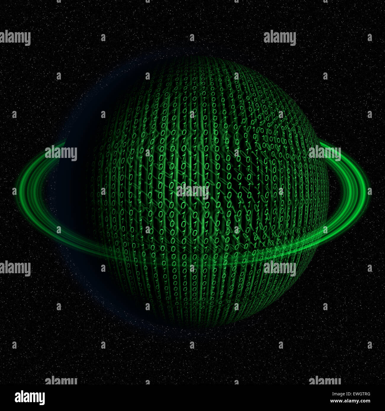 Digital, binary code, IT world planet abstract illustration in green color. - Stock Image