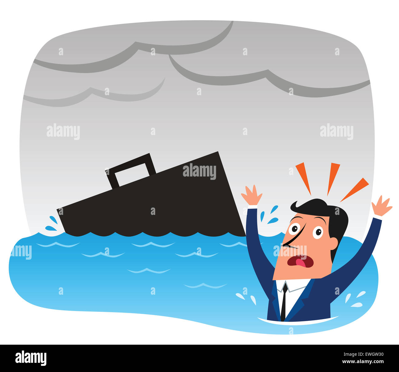 Businessman sinking down in recession - Stock Image